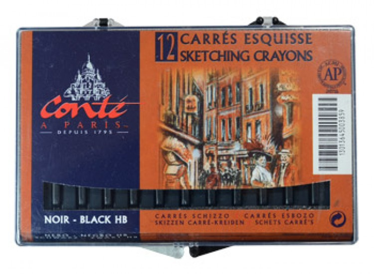 Conte : Carres : Sketching Crayon : Box of 12 : Black HB