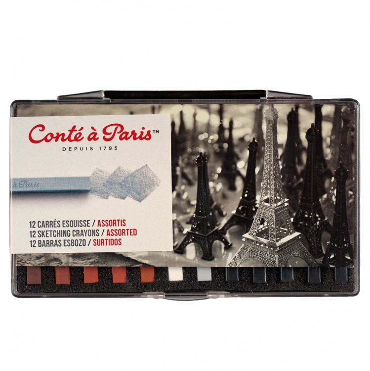 Conte Carres Crayon Set : hard-baked square pastels : Box of 12 Assorted Traditional