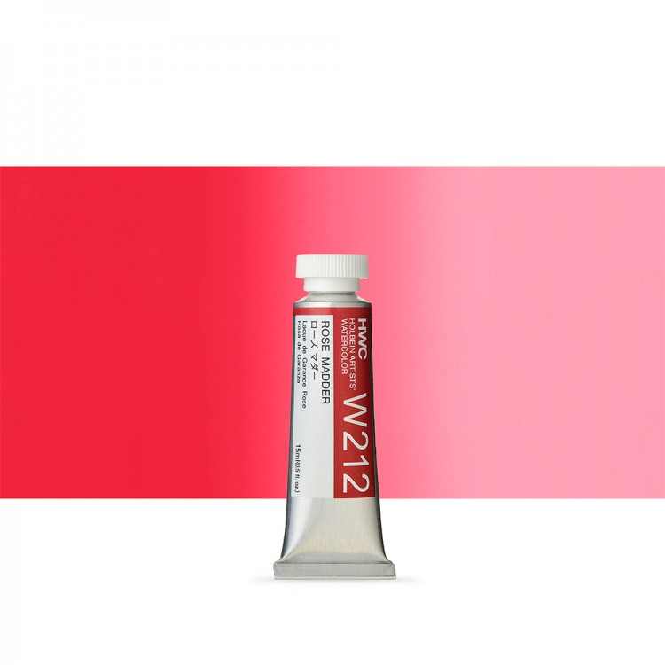 Holbein : Watercolour Paint : 15ml : Tube Rose Madder