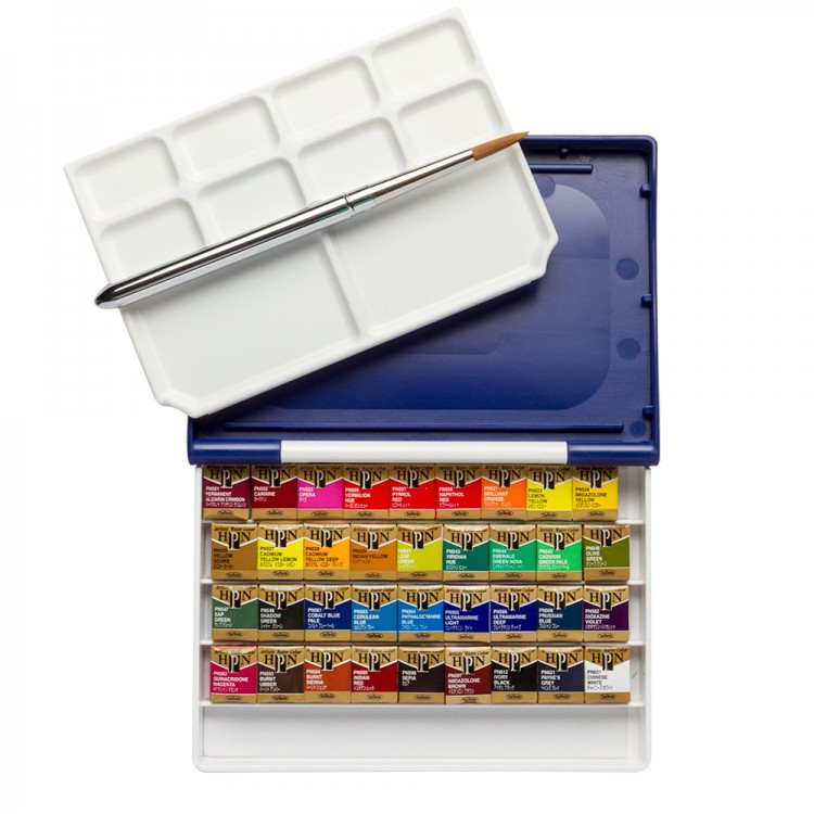 Holbein Watercolour Paint Set : Palm Plastic Case : 36 Half Pans