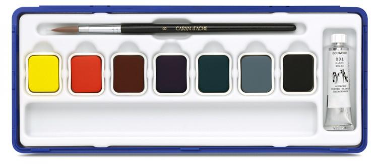 Caran d'Ache : Studio Gouache : Set of 7 Pans & 10ml White