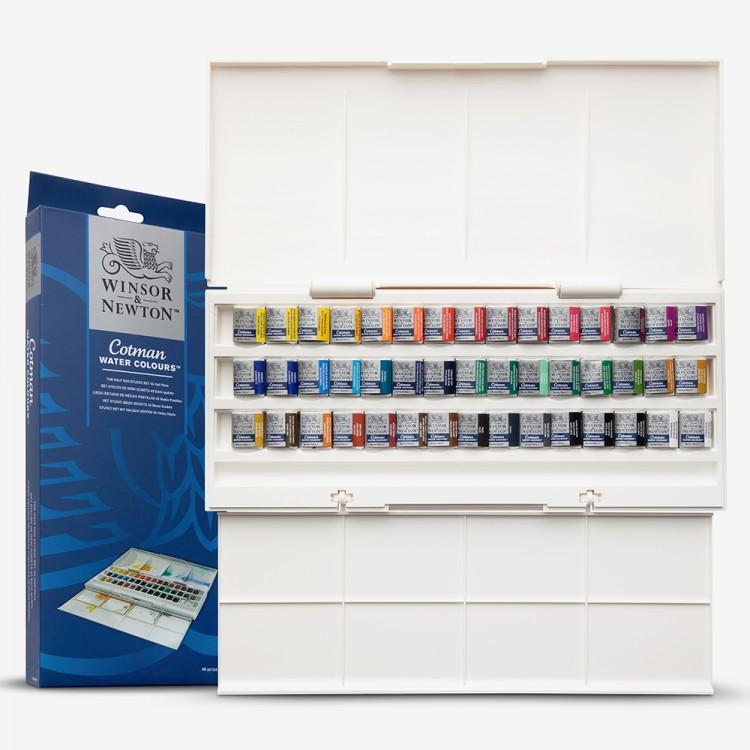 W&N : Cotman : Watercolour Paint : Studio Set : 45 Half Pans