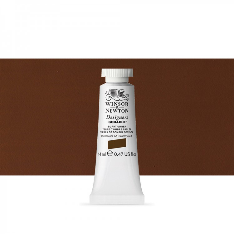 Winsor & Newton : Designer Gouache Paint : 14ml : Burnt Umber