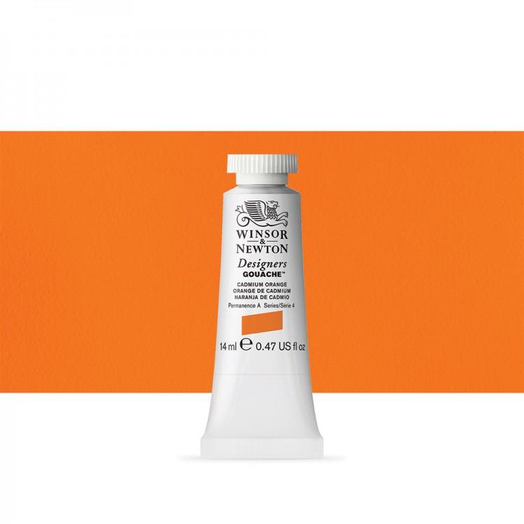 Winsor & Newton : Designer Gouache Paint : 14ml : Cadmium Orange