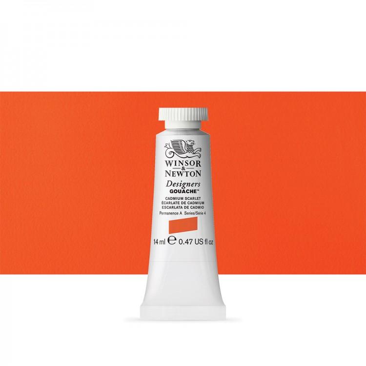Winsor & Newton : Designer Gouache Paint : 14ml : Cadmium Scarlet