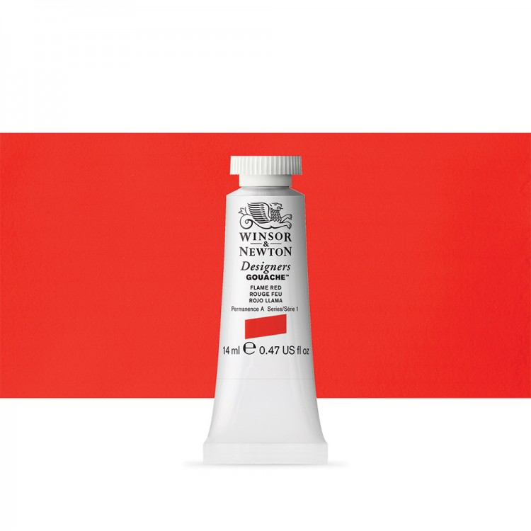 Winsor & Newton : Designer Gouache Paint : 14ml : Flame Red