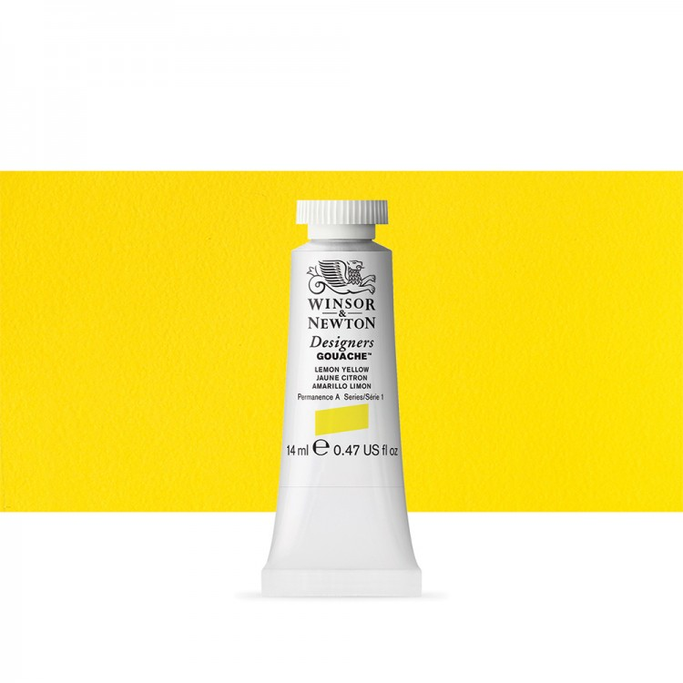 Winsor & Newton : Designer Gouache Paint : 14ml : Lemon Yellow