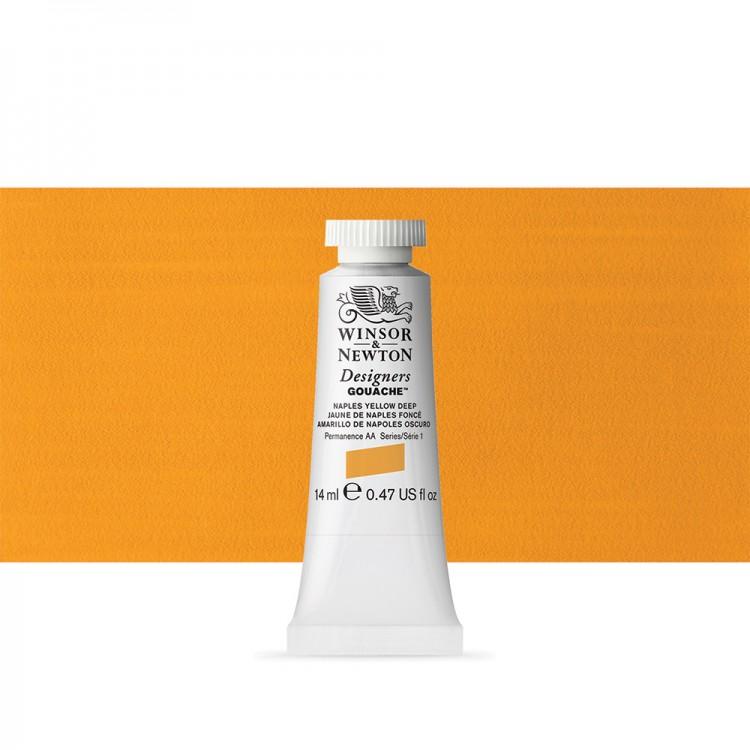 Winsor & Newton : Designer Gouache Paint : 14ml : Naples Yellow Deep
