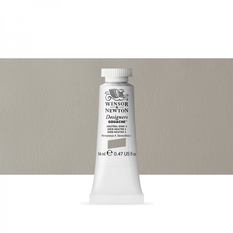 Winsor & Newton : Designer Gouache Paint : 14ml : Neutral Grey