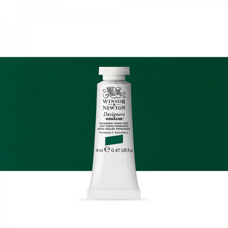 Winsor & Newton : Designer Gouache Paint : 14ml : Permanent Green Deep