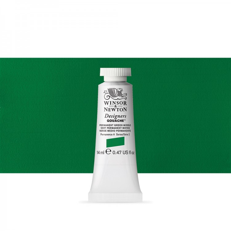 Winsor & Newton : Designer Gouache Paint : 14ml : Permanent Green Middle