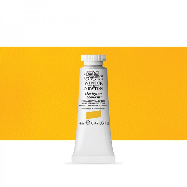 Winsor & Newton : Designer Gouache Paint : 14ml : Permanent Yellow Deep