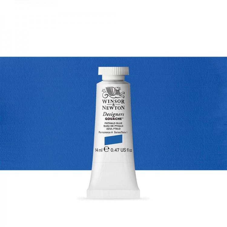 Winsor & Newton : Designer Gouache Paint : 14ml : Phthalo Blue
