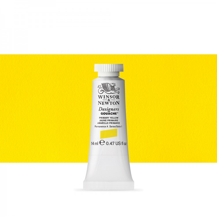 Winsor & Newton : Designer Gouache Paint : 14ml : Primary Yellow