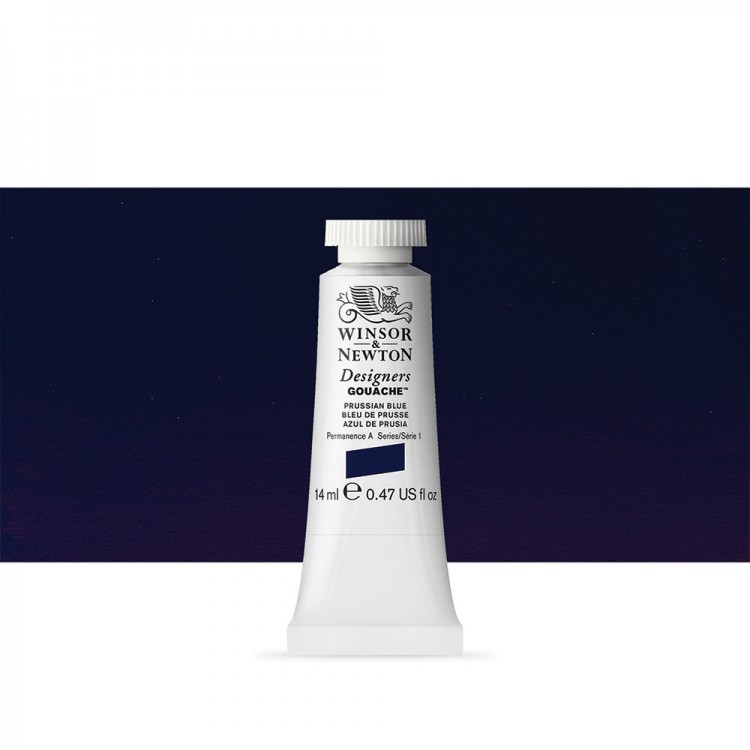 Winsor & Newton : Designer Gouache Paint : 14ml : Prussian Blue