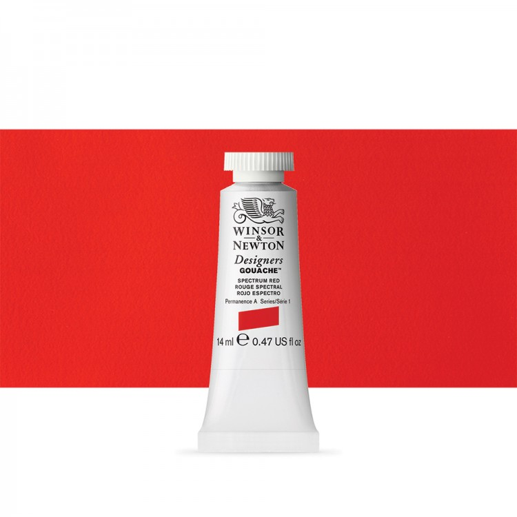 Winsor & Newton : Designer Gouache Paint : 14ml : Spectrum Red