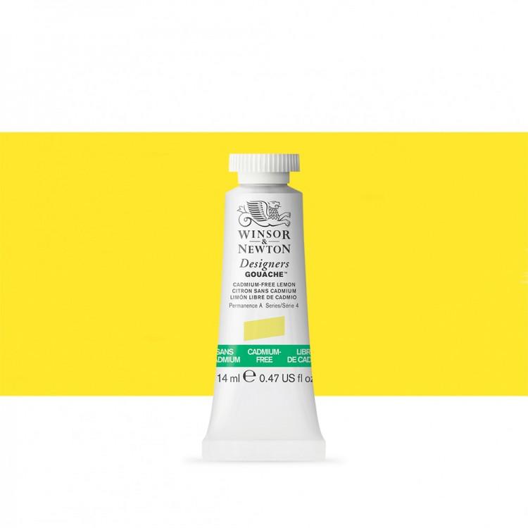Winsor & Newton : Designer Gouache Paint : 14ml : Cadmium-Free Lemon
