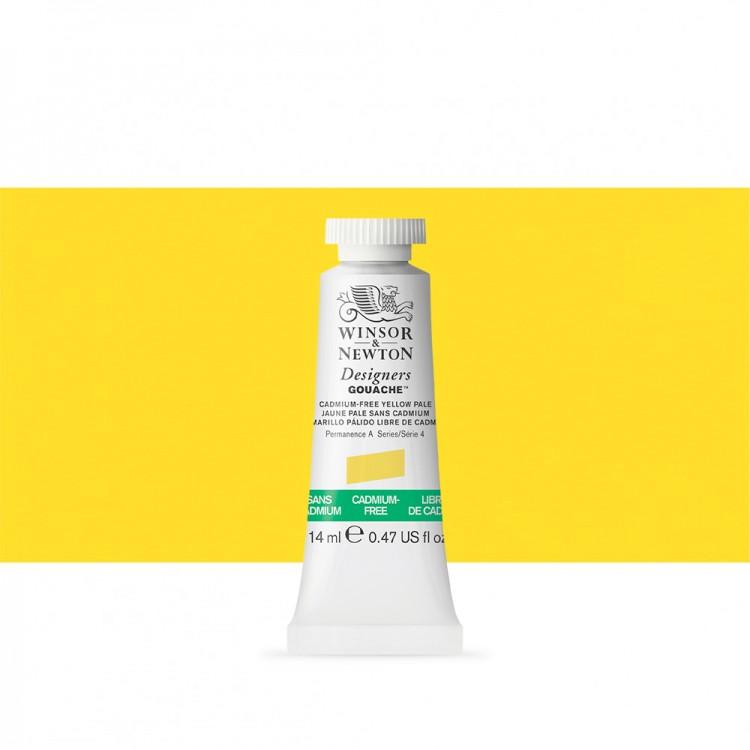 Winsor & Newton : Designer Gouache Paint : 14ml : Cadmium-Free Yellow Pale