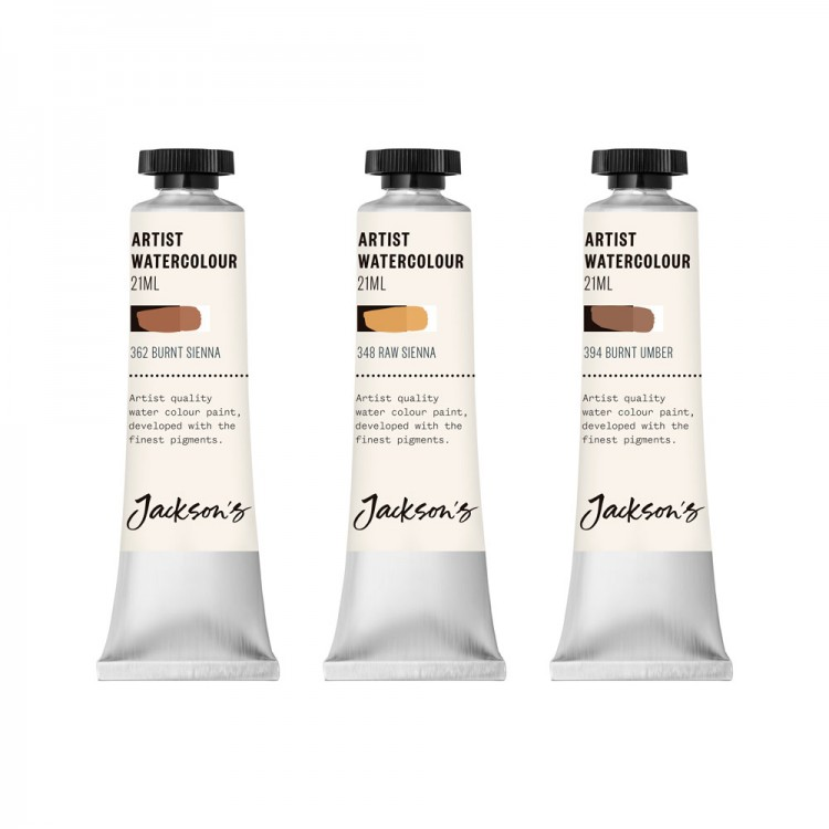 Jackson's : Artist Watercolour Paint : Earth Set 1 : 21ml : Set of 3