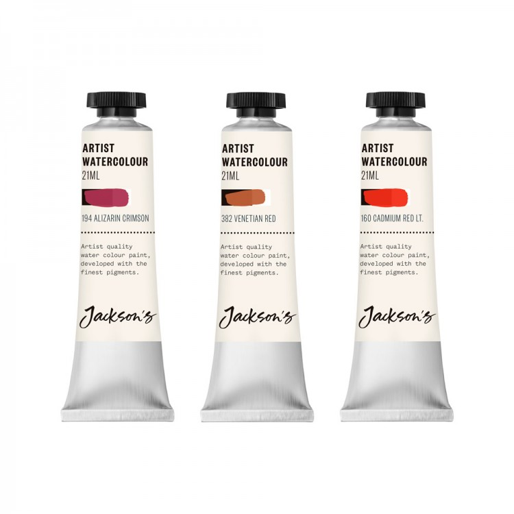 Jackson's : Artist Watercolour Paint : Red Set 1 : 21ml : Set Of 3