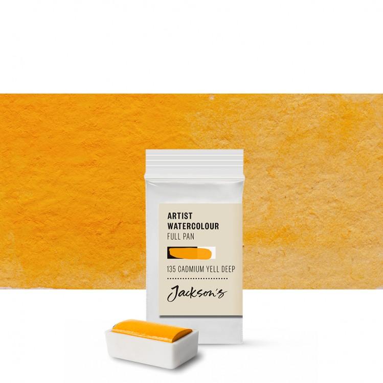 Jackson's : Artist Watercolour Paint : Full Pan : Cadmium Yellow Deep