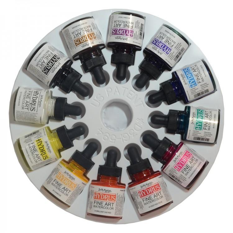 Dr. Ph. Martin's : Hydrus Liquid Watercolour Paint : 30ml x 12 : Set 1 (1H - 12H)
