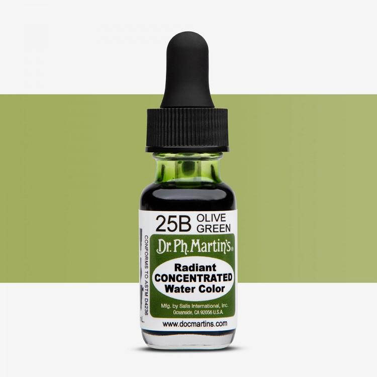 Dr. Ph. Martin's : Radiant Watercolour Paint Dye : 15ml : Olive Green