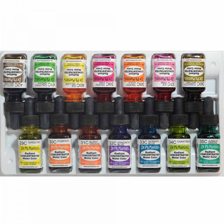 Dr. Ph. Martin's : Radiant Watercolour Paint : Dye : 15ml : Set C (29 To 42)