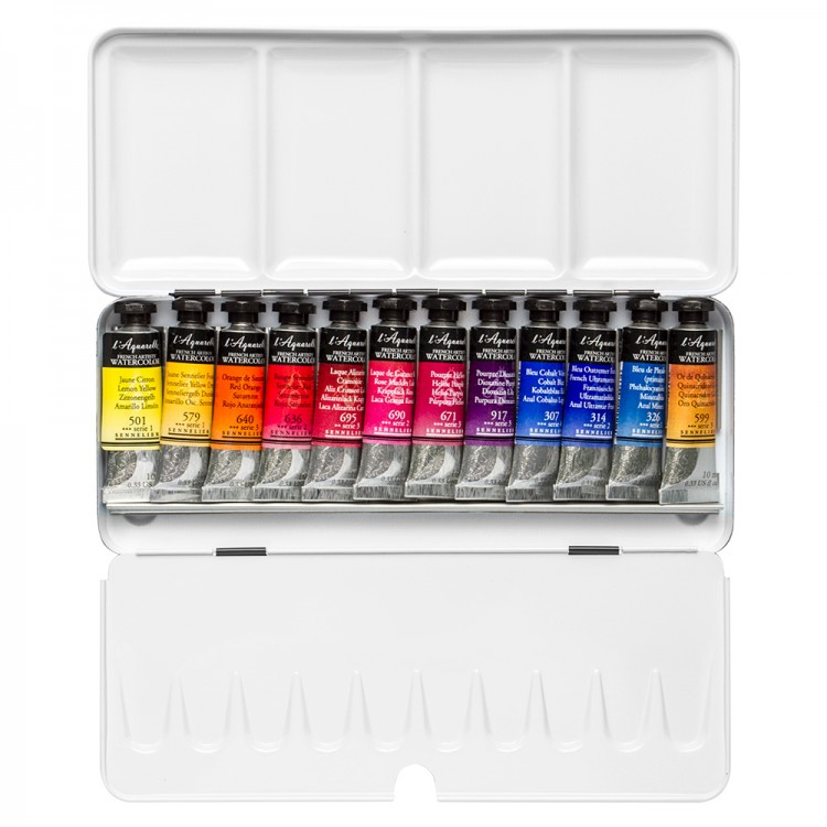 Billy Showell : Sennelier Watercolour Paint Set : 12 10ml : Tubes In Case