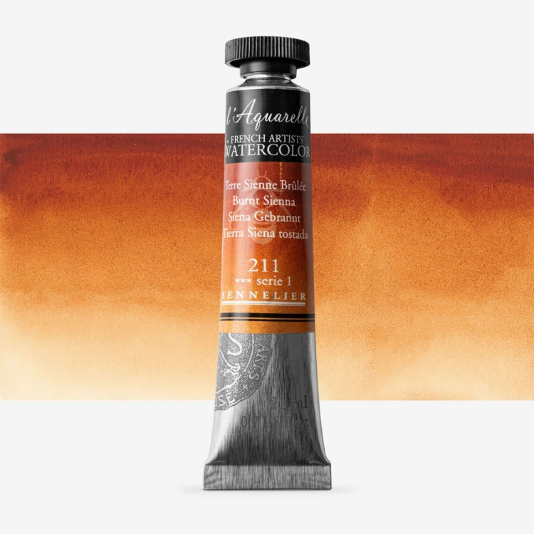 Sennelier : Watercolour Paint : 21ml : Burnt Sienna