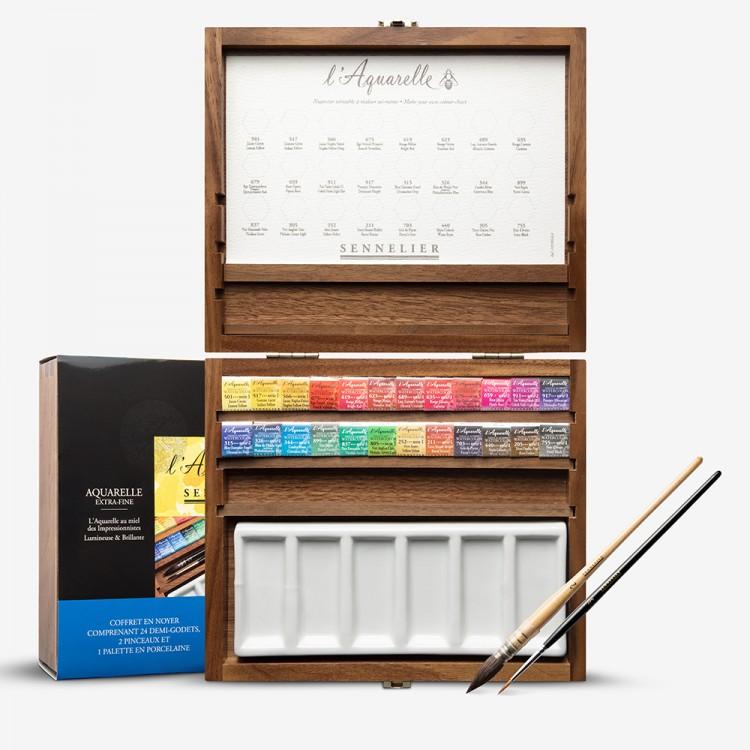 Sennelier : Watercolour : Wooden Box Set : 24 x Half Pans with Acessories