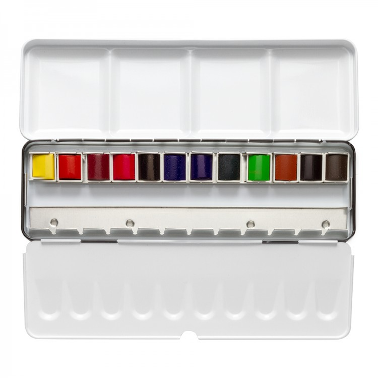 Sennelier : Watercolour Paint : Classic Metal Tin Set Of 12 Half Pans