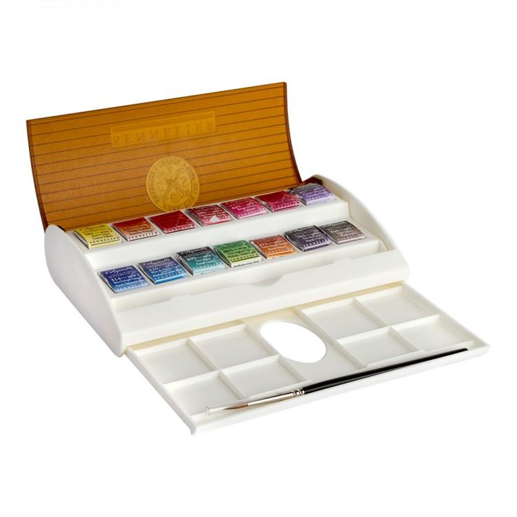 Sennelier : Watercolour : Travel Box Set of 14 Half Pans & Brush