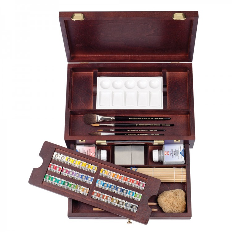 Talens : Rembrandt Watercolour Paint : Master Set : 42 Half Pan Wooden Box Set