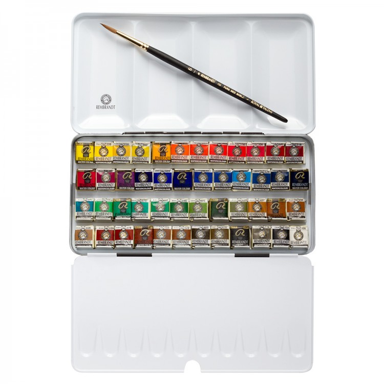 Talens : Rembrandt Watercolour Paint : 48 Half Pan Metal Box Set : With Brush