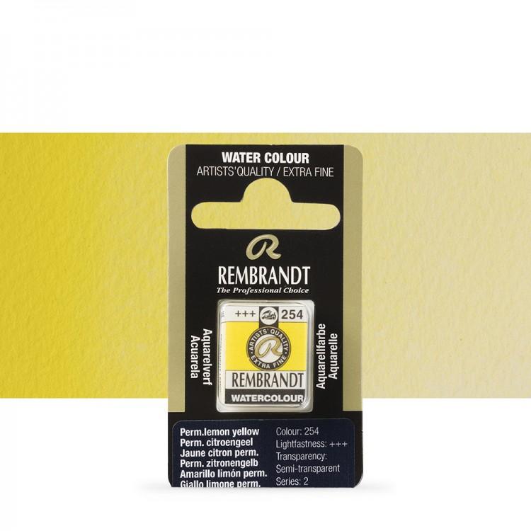 Talens : Rembrandt Watercolour Paint : Half Pan Permanent Lemon Yellow
