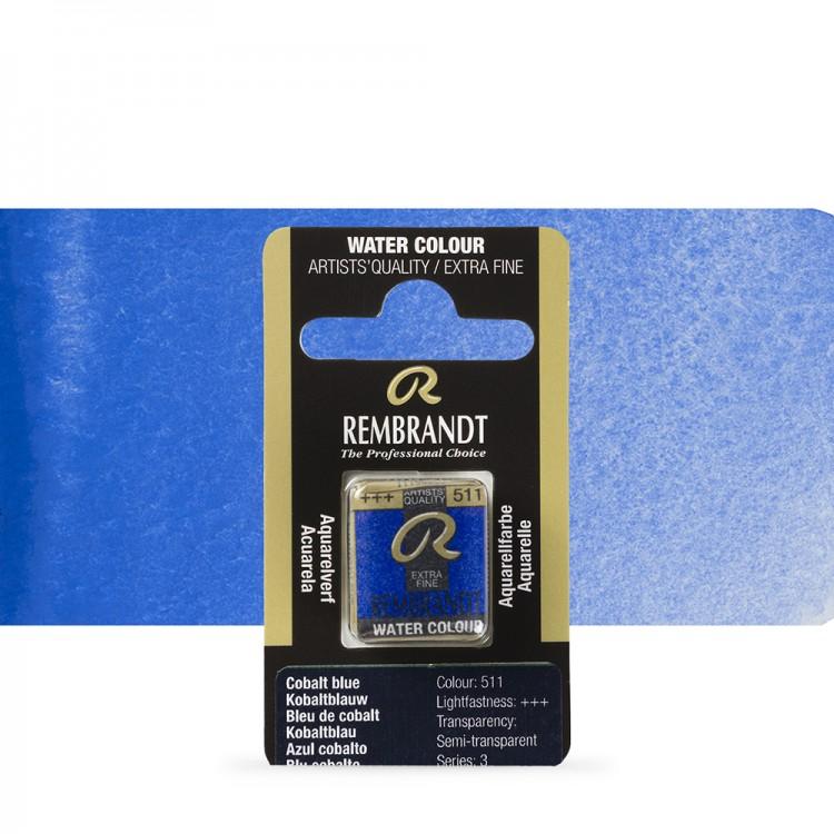 Talens : Rembrandt Watercolour Paint : Half Pan Cobalt Blue