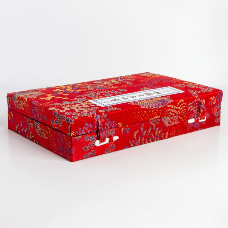 JAS : Chinese Painted Fabric Covered Box Set E2