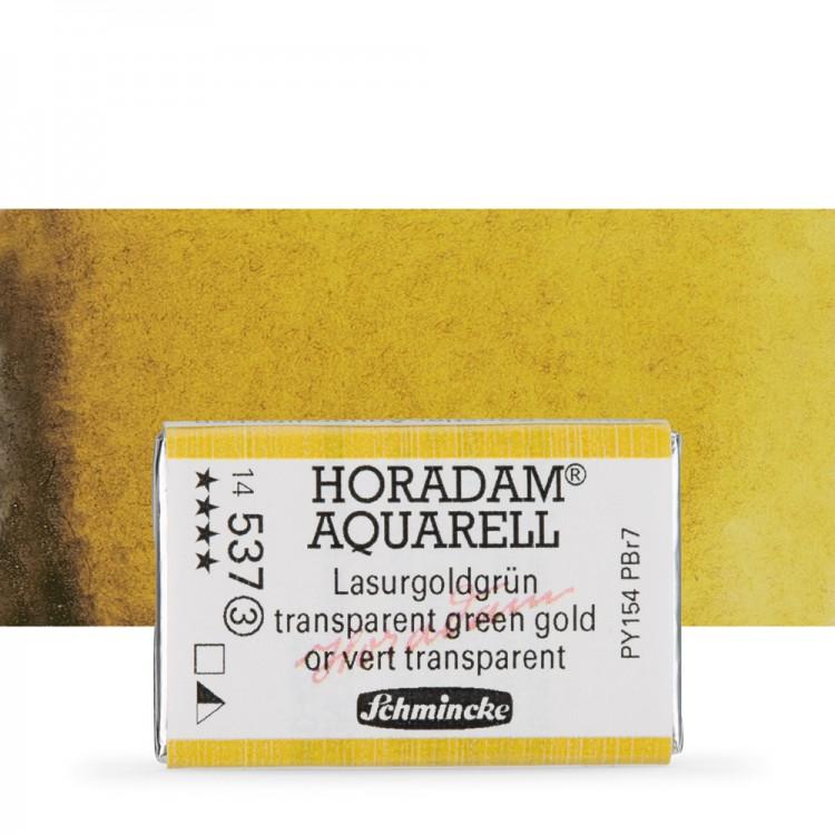 Schmincke : Horadam Watercolour Paint : Full Pan : Transparent Green Gold