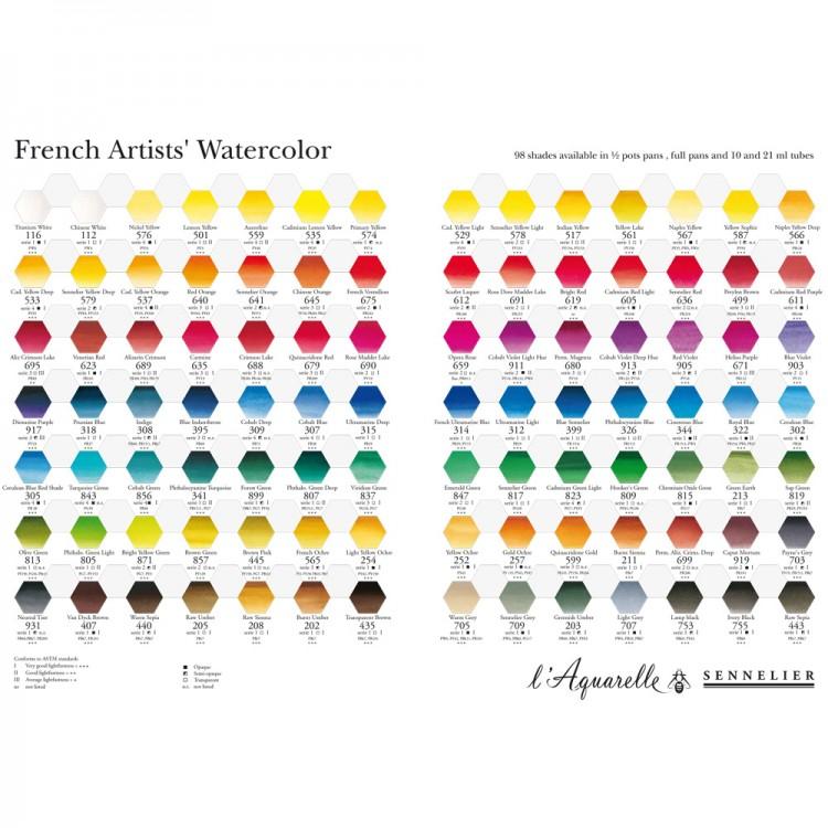 Sennelier Watercolour Printed Colour Chart Jacksons Art Supplies