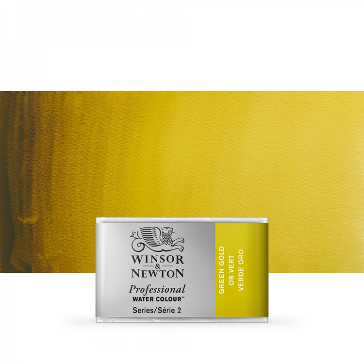 Winsor & Newton : Professional Watercolour Paint : Full Pan : Green Gold