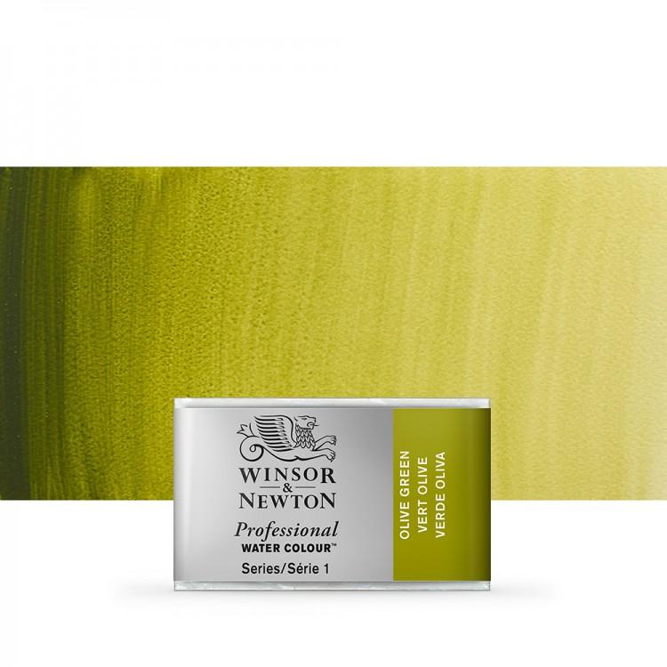 Winsor & Newton : Professional Watercolour Paint : Full Pan : Olive Green