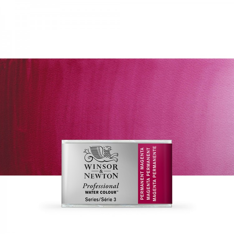 Winsor & Newton : Professional Watercolour Paint : Full Pan : Permanent Magenta