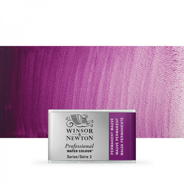 Winsor & Newton : Professional Watercolour Paint : Full Pan : Permanent Mauve
