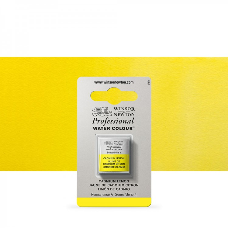 Winsor & Newton : Professional Watercolour Paint : Half Pan : Cadmium Lemon