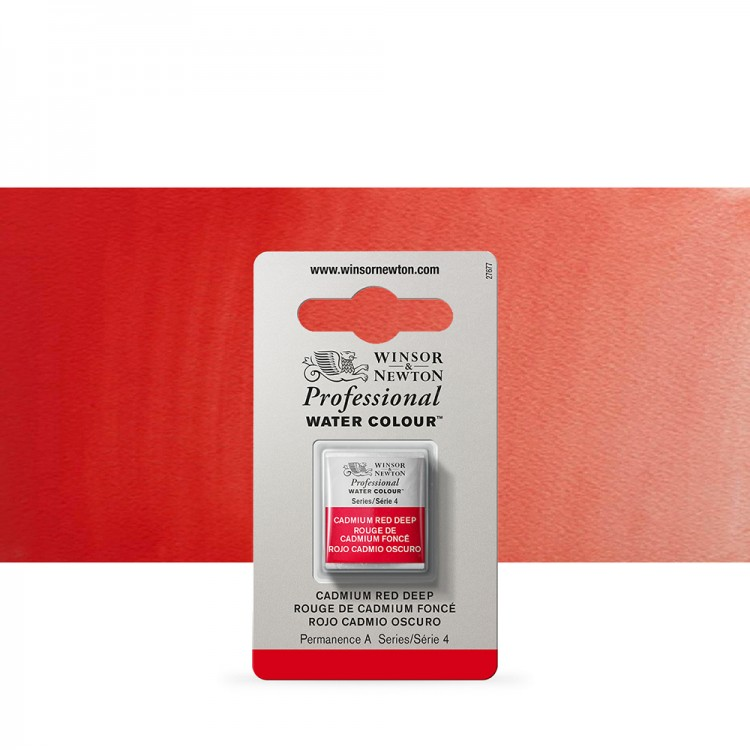 Winsor & Newton : Professional Watercolour Paint : Half Pan : Cadmium Red Deep