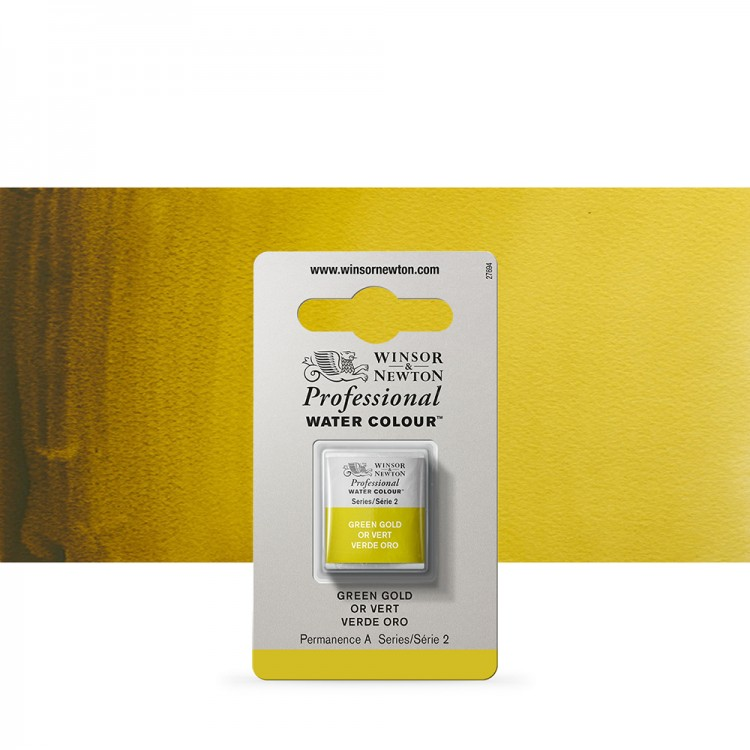 Winsor & Newton : Professional Watercolour Paint : Half Pan : Green Gold