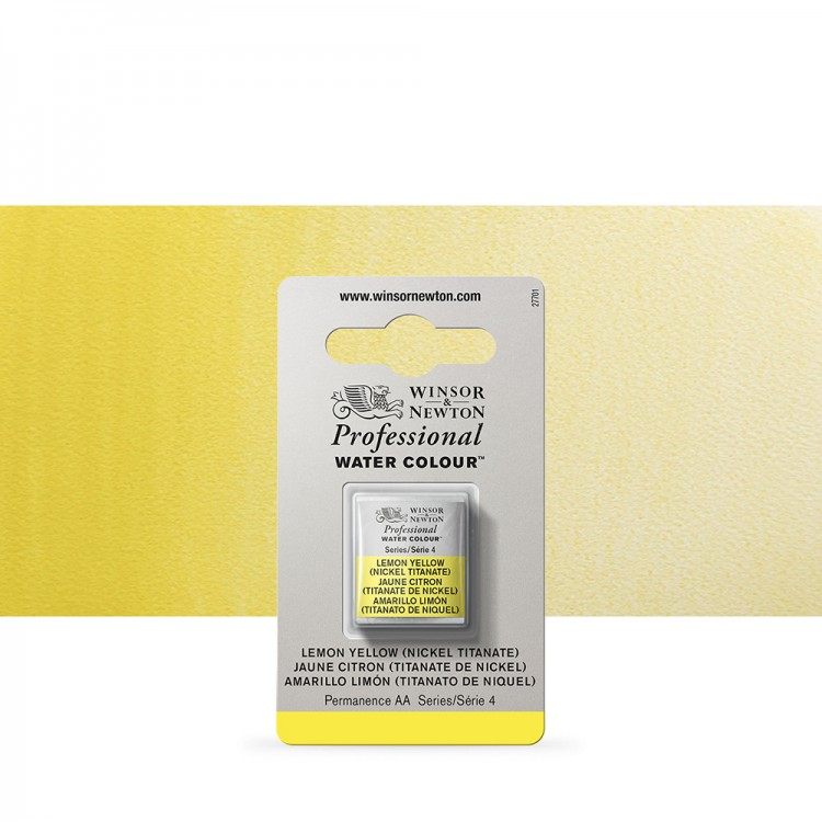 Winsor & Newton : Professional Watercolour Paint : Half Pan : Lemon Yellow