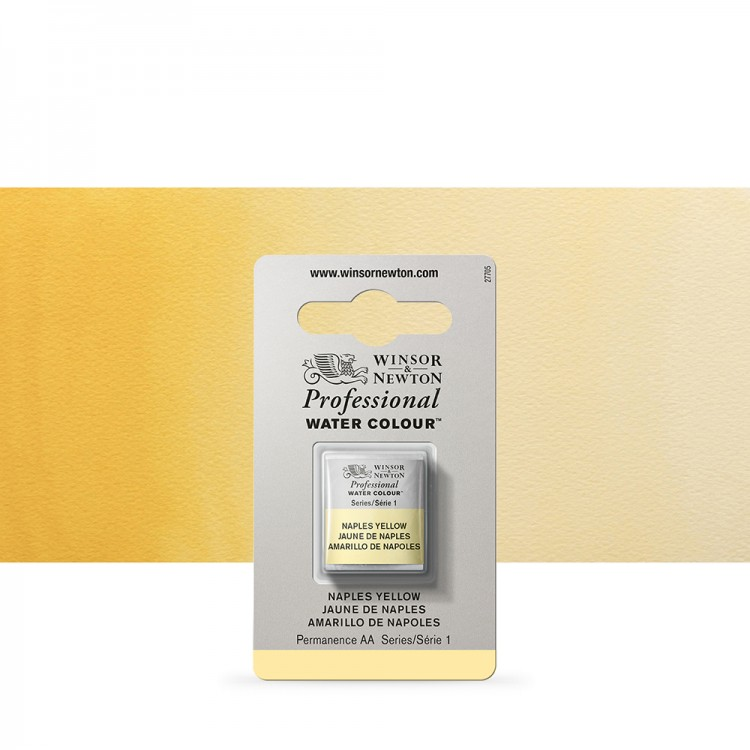 Winsor & Newton : Professional Watercolour Paint : Half Pan : Naples Yellow