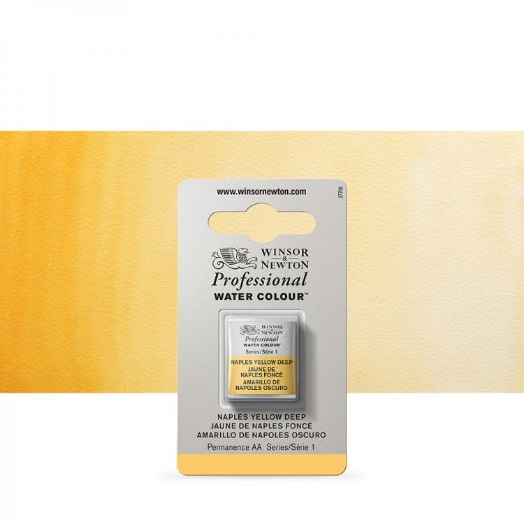 Winsor & Newton : Professional Watercolour Paint : Half Pan : Naples Yellow Deep
